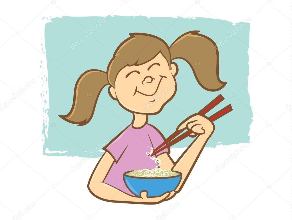 Noodle clipart cute — Vector noodles chop by