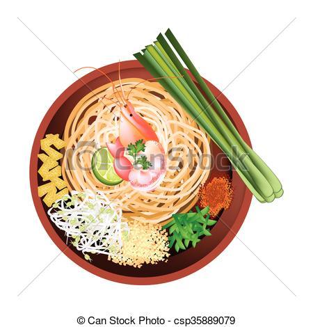Noodle clipart fried noodle Thai or Pad Vectors Illustration