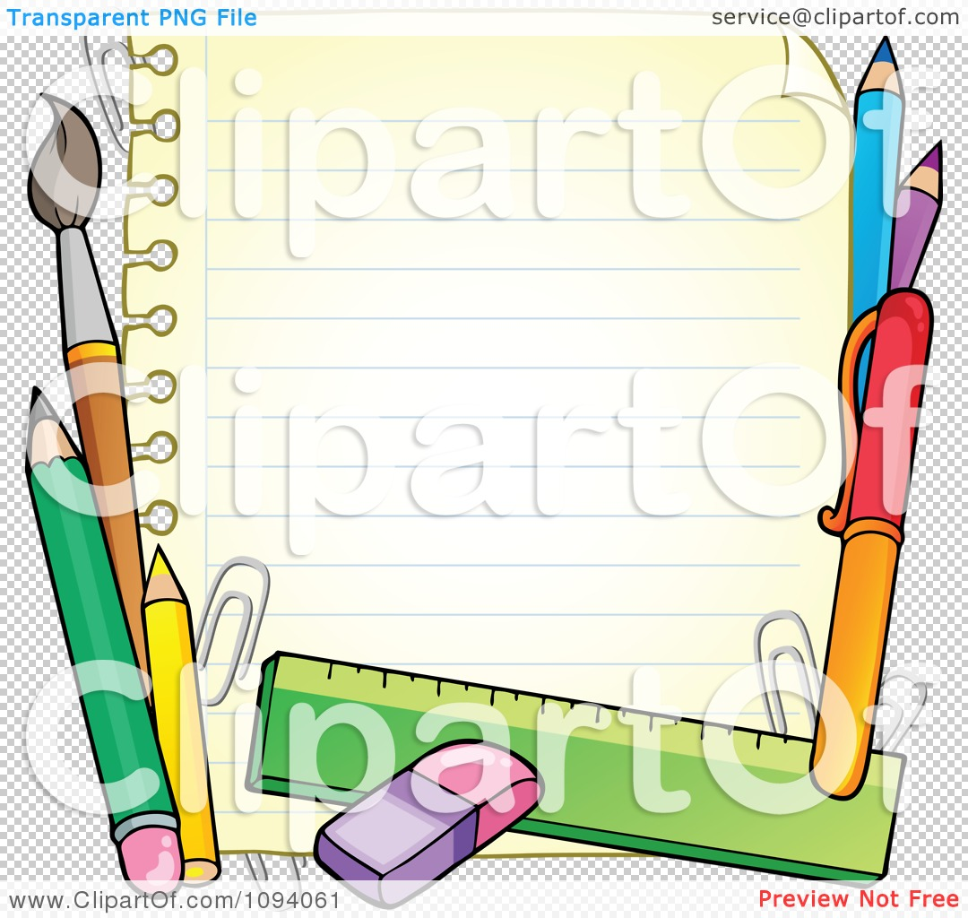 Notebook clipart border Collection High school supplies Clipart