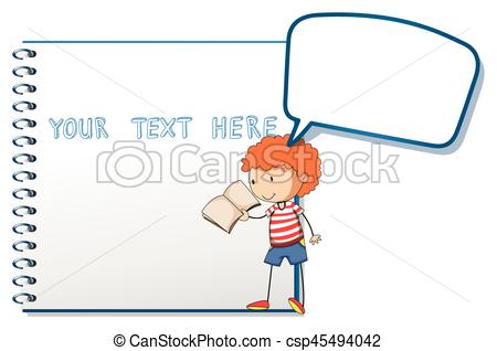 Notebook clipart boy Boy  reading of with