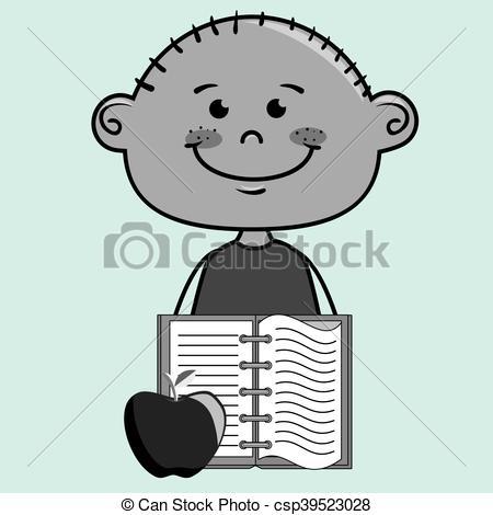 Notebook clipart boy Notebook  cartoon icon vector