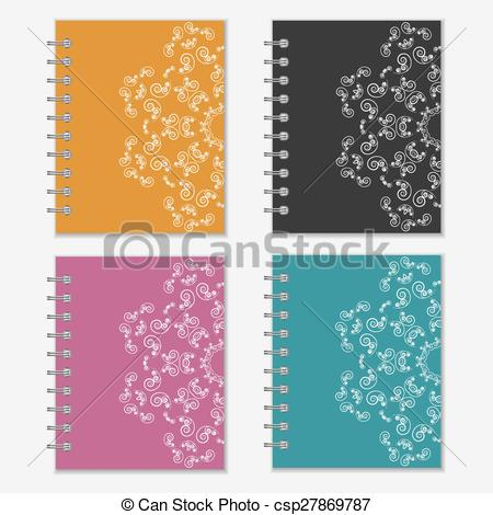 Notebook clipart colorful Notebook csp27869787  flower Set