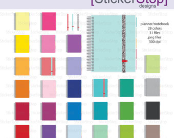 Notebook clipart colorful Etsy Instant Digital Planner Clipart