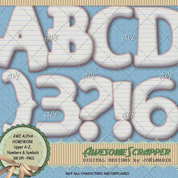 Notebook clipart homework paper Homework Clipart Alphabet Numbers DPI