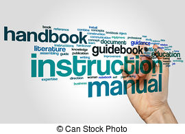 Notebook clipart instruction manual With concept Manual Stock Photo
