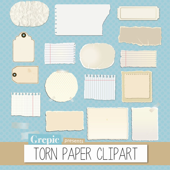 Paper clipart torn paper Pack: and pieces paper Like