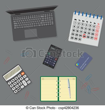 Notebook clipart office equipment Top table Vectors with laptop
