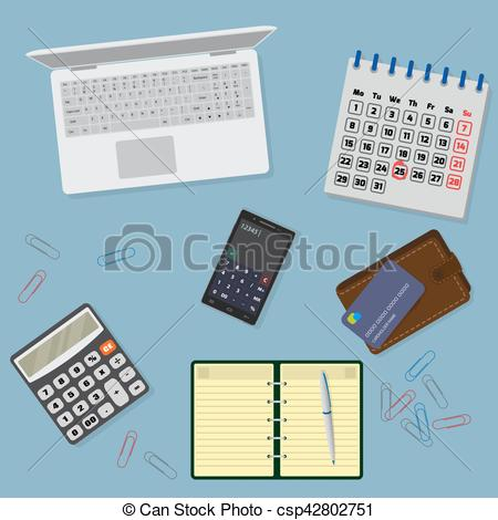 Notebook clipart office equipment Cale table Vector with stationary