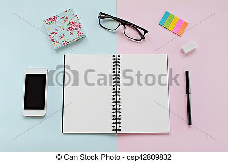 Notebook clipart office stationery Stock and desk of
