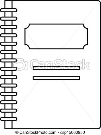 Notebook clipart outline Style School icon  outline