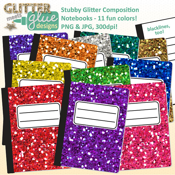 Notebook clipart school supply Composition School  Back Glitter