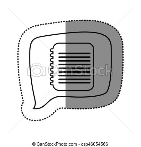 Notebook clipart square With contour Vector contour of