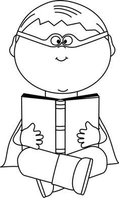Chill clipart black and white Superhero and Black Book White