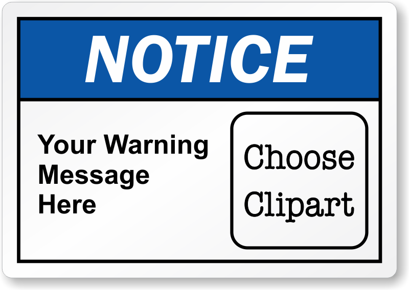 Notice clipart warning Labels · Zoom Personalize Online