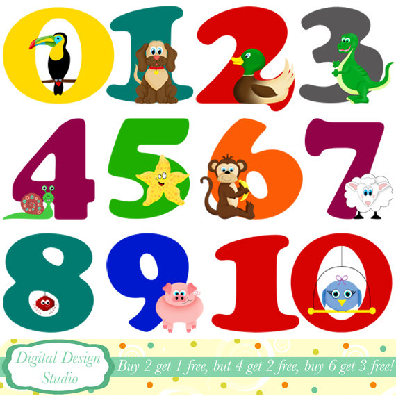 Number clipart animal number Commercial Animal digital DOWNLOAD INSTANT