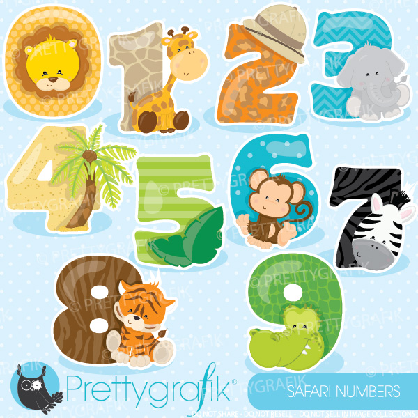 Number clipart animal number Teachers Safari numbers numbers clipart