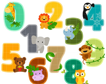Number clipart animal number Cupcake Animal Digital Scrapbooking Clip