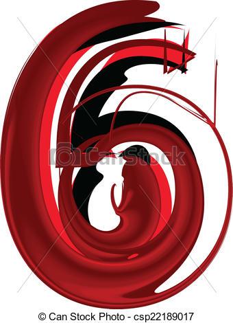 Number clipart artistic Of Artistic csp22189017 Art 6
