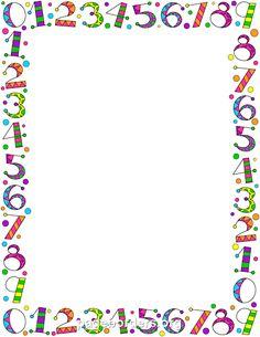 Number clipart border PNG preschool  PDF Word