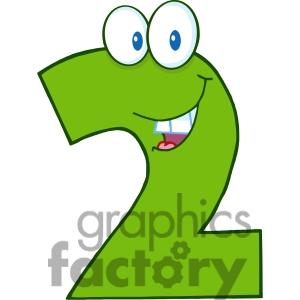 Number clipart cartoon Two Cartoon Clipart
