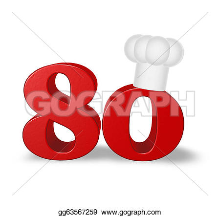 Number clipart eighty Illustration gg63567259 cook Stock white
