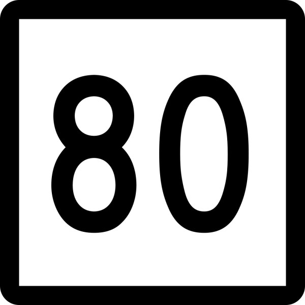 Number clipart eighty Picture a 80 This black