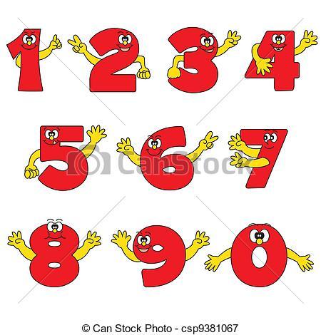 Number clipart funny cartoon Number csp9381067 Funny cartoon