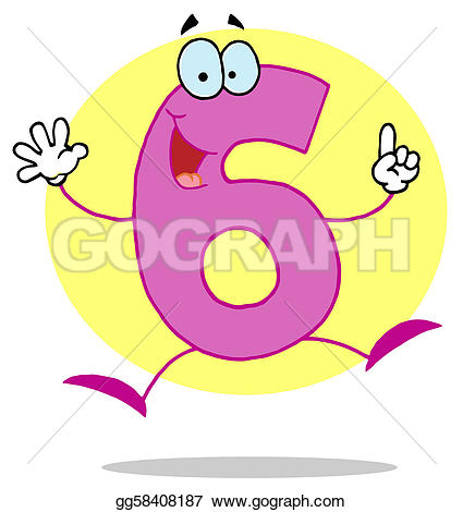 Number clipart funny cartoon 6 Vector numbers Vector