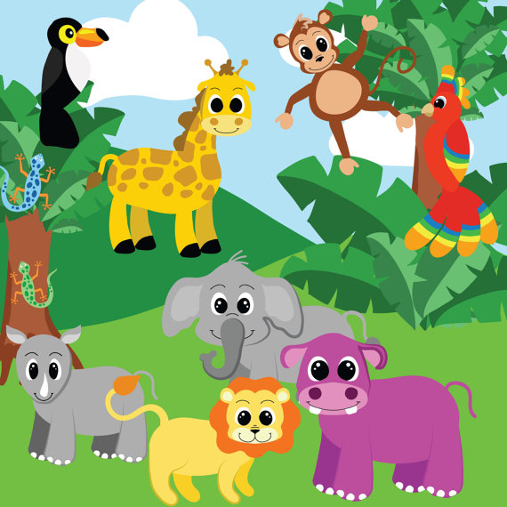 Number clipart jungle Clip clipart Jungle Digital animals
