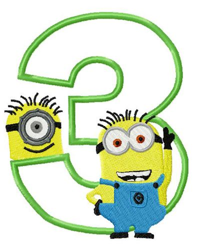 Number clipart minion Applique Minion Number with three