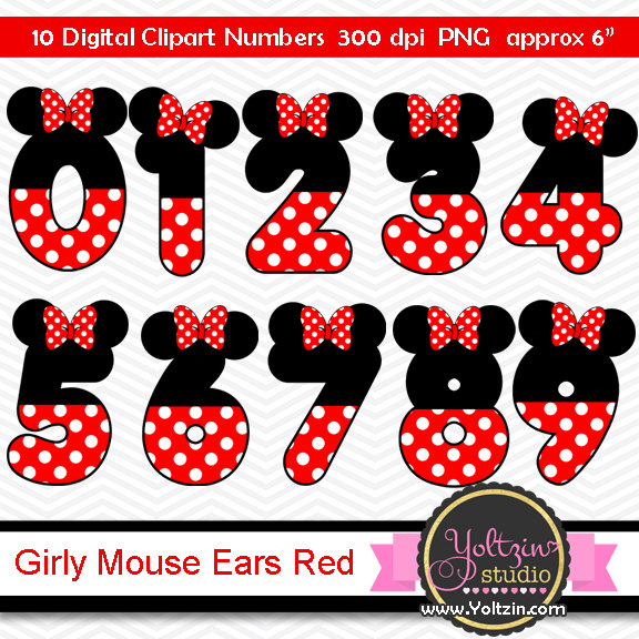 Number clipart minnie mouse Mouse Ears clip Black numbers