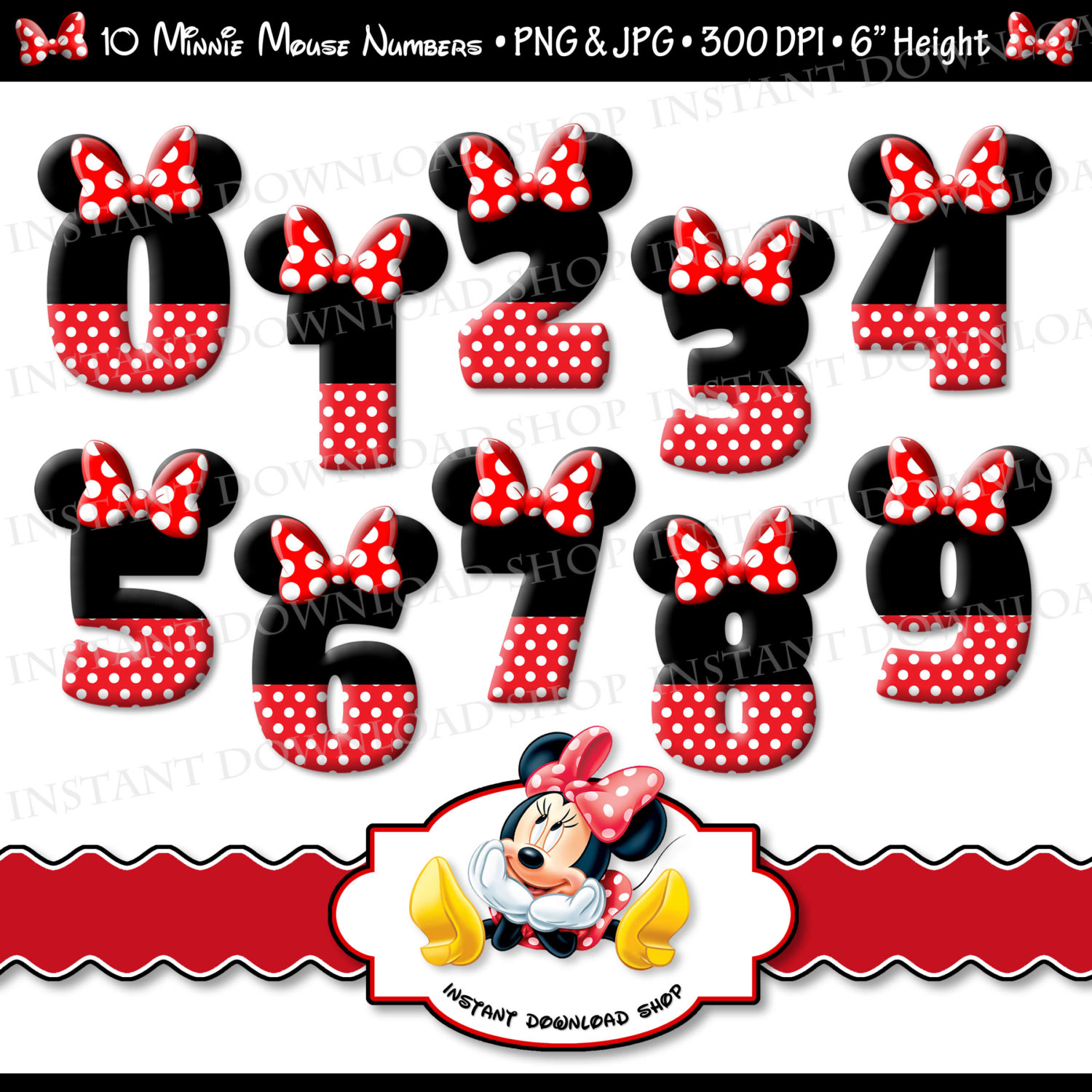 Number clipart minnie mouse A Mouse INSTANT Minnie Digital