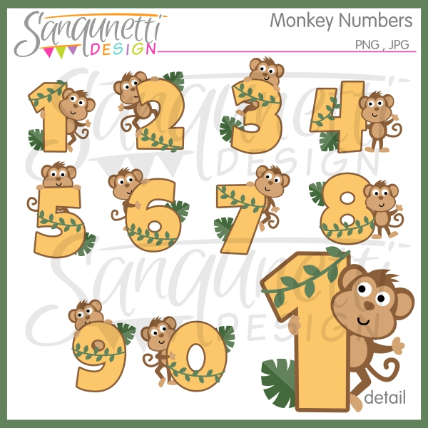 Number clipart monkey Embroidery Sanqunetti Numbers Design: for