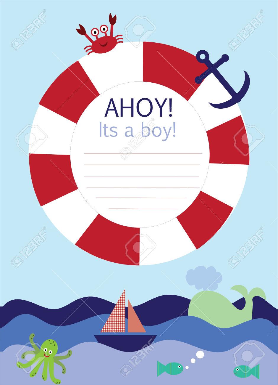 Pinball clipart border Nautical Free Shower Baby Baby