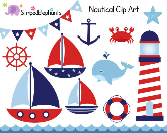 Sailing clipart nautical Clipart Clip Boat Instant Navy