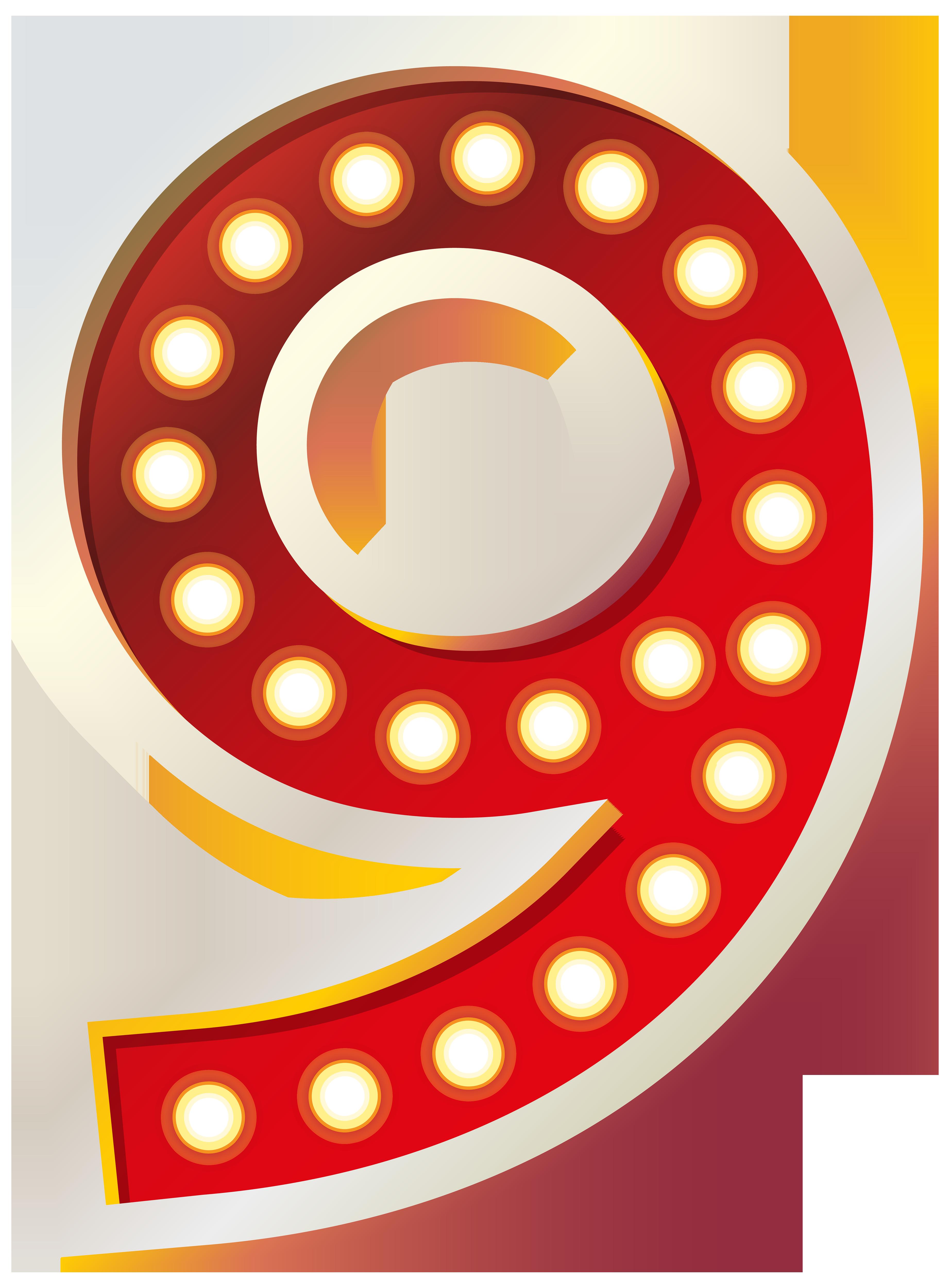 Number clipart nine  Number Lights size Clip