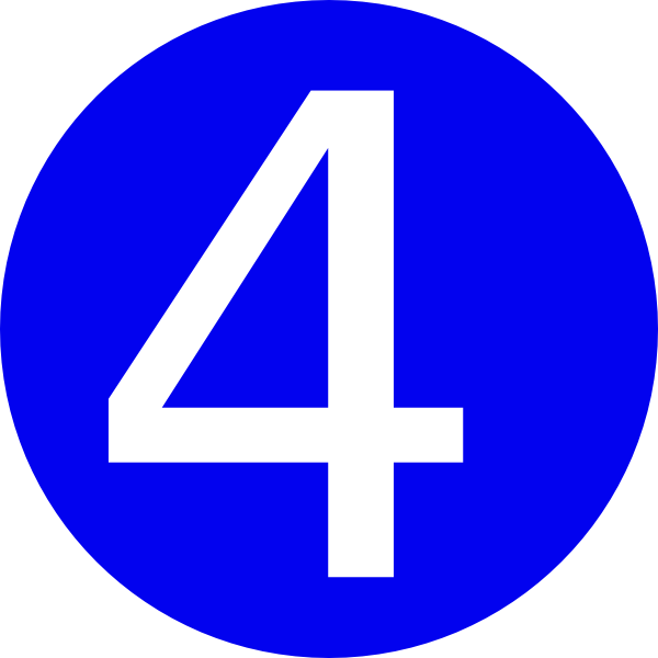 Number clipart number four Four Art Animal Number Blue
