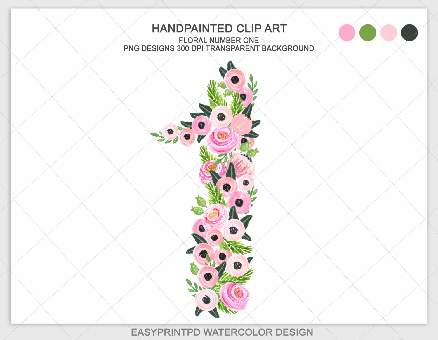 Number clipart number one Floral Art number Handpainted watercolor
