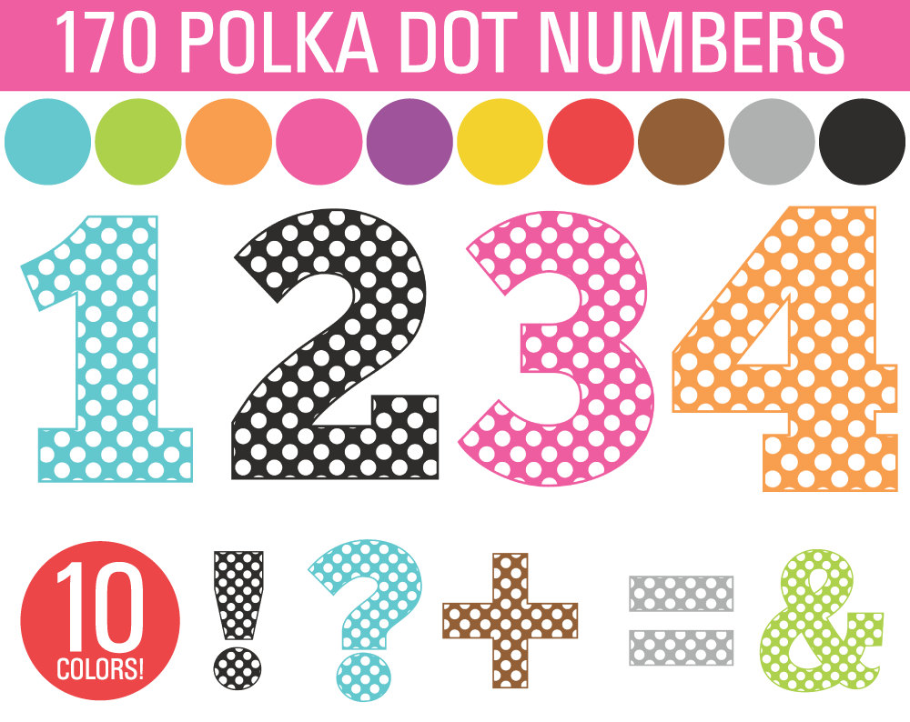 Number clipart polka dot number Dot Numbers Clipart Dot Clipart