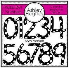 Number clipart polka dot number Design} Chevron Hughes Polka White