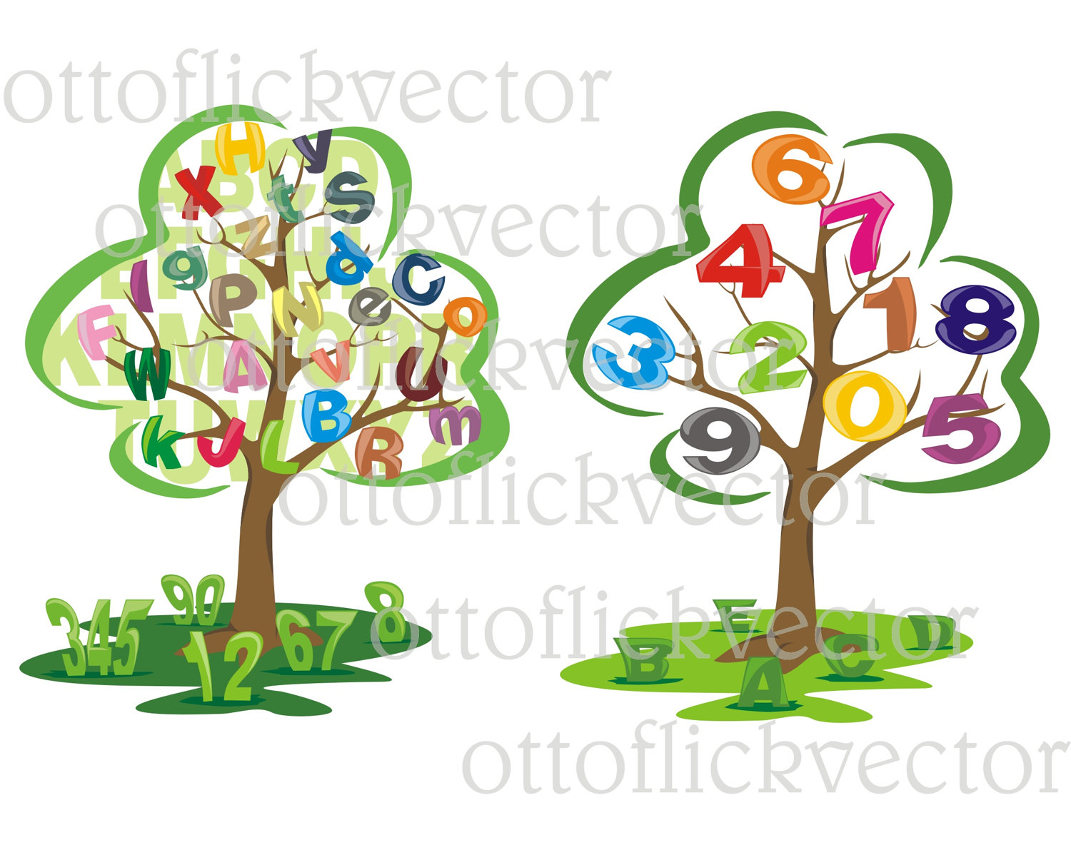 Number clipart primary education Eps VECTOR tree  This