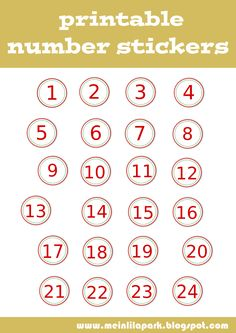 Number clipart printable For stickers STICKERS calendar Zahlen