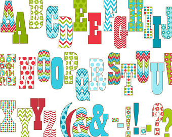 Number clipart printable Instant Colorful Clipart Green Alphabet