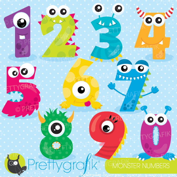 Number clipart school Monster Teachers Mygrafico numbers clipart