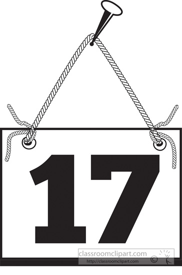 Number clipart seventeen Number on hanging : :