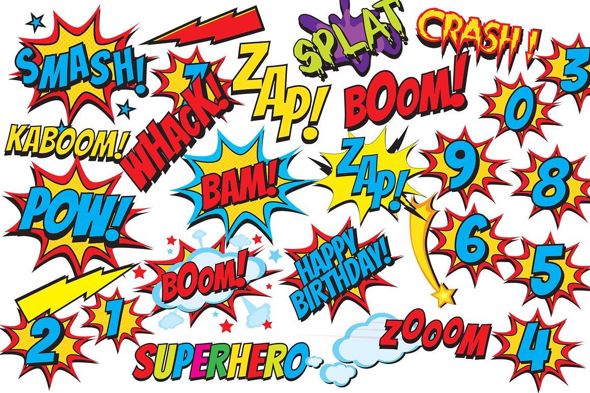 Comics clipart superhero Clipart comic clip Fonts