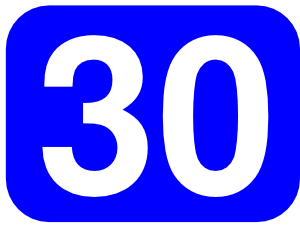 Number clipart thirty At Rounded Blue Rectangle Clip