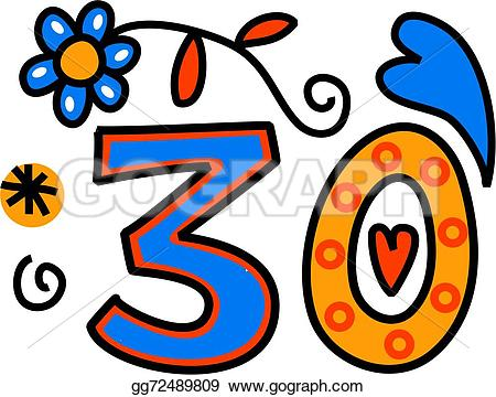 Number clipart thirty Text as Number Hand Drawing