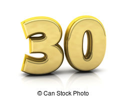 Number clipart thirty Thirty number 3d thirty white