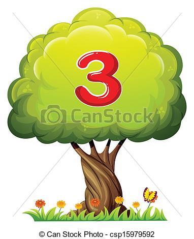 Number clipart tree Three a of Vectors three